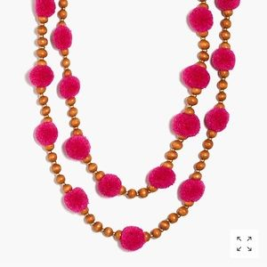 J.crew Pom Pom and Beads Layered Necklace Fuchsia